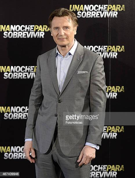 Liam Neeson attends a photocall for 'Run All Night' at the Santo Mauro Hotel on March 24 2015 in Madrid Spain