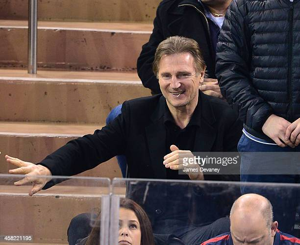 Liam Neeson attends the Long Island Islanders vs New York Rangers game at Madison Square Garden on December 20 2013 in New York City