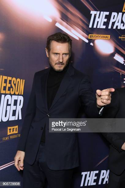 Liam Neeson attends 'The Passenger' Paris Premiere At Cinema UGC Normandie on January 16 2018 in Paris France