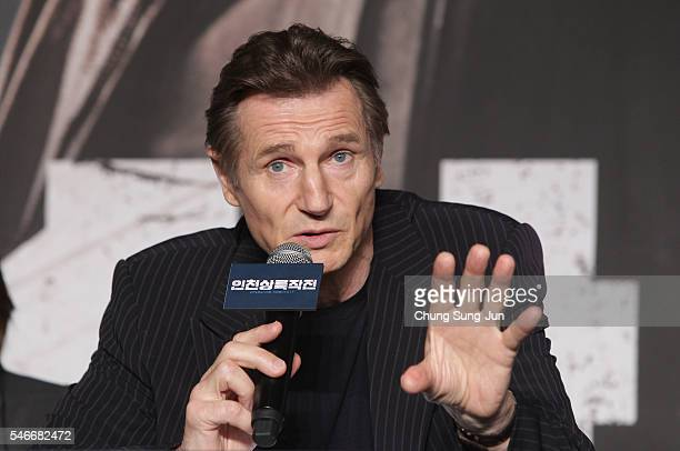 Liam Neeson attends the press conference for 'Operation Chromite' on July 13 2016 in Seoul South Korea