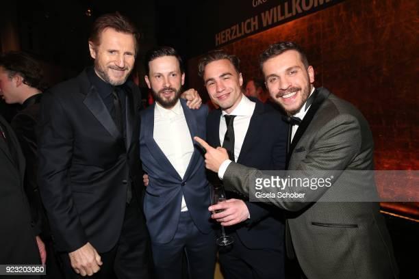 Liam Neeson Franz Dinda Joachim Foerster and Edin Hasanovic during the Goldene Kamera reception on February 22 2018 at the Messe Hamburg in Hamburg...