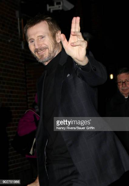 Liam Neeson is seen on January 08 2018 in New York City
