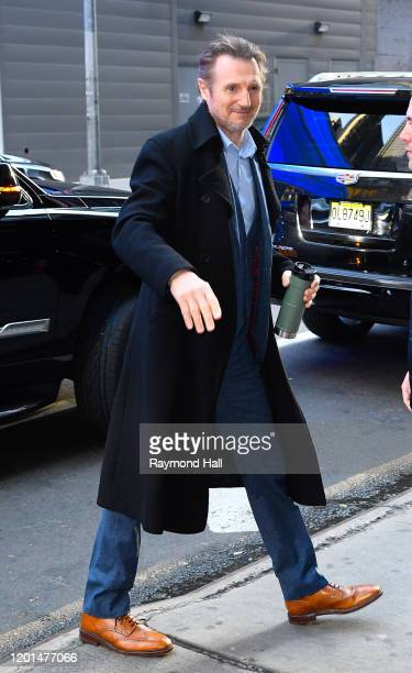 Liam Neeson is seen outside 'Good Morning America' on February 17 2020 in New York City