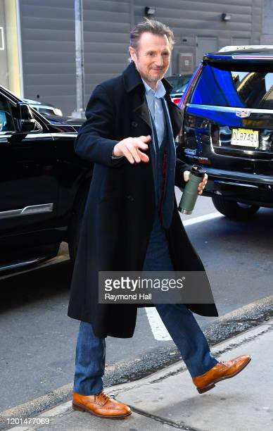Liam Neeson is seen outside Good Morning America on February 17 2020 in New York City
