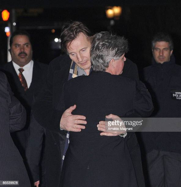 Liam Neeson leaves a wake for his wife Natasha Richardson at the American Irish Historical Society March 20 2009 in New York City Richardson died at...