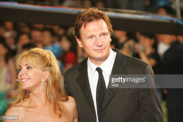 Liam Neeson poses on Star Boulevard during the opening ceremony of the Shanghai International Film Festival at the Shanghai Concert Hall June 17 2006...