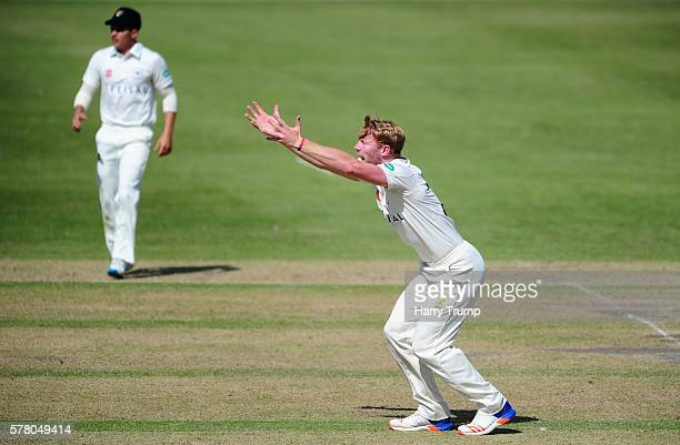 Liam Norwell of Gloucestershire appeals during Day One of the Specsavers County Championship Division Two match between Gloucestershire and...