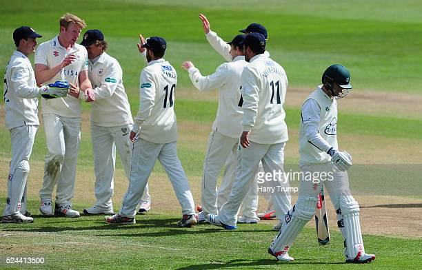 Liam Norwell of Gloucestershire celebrates after dismissing Ed Barnard of Worcestershire during Day Three of the Specsavers County Championship match...
