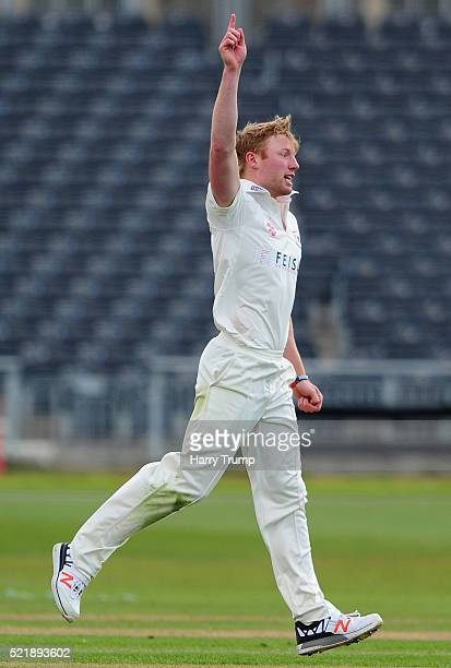 Liam Norwell of Gloucestershire celebrates after dismissing Hamish Rutherford of Derbyshire during Day One of the Specsavers County Championship...