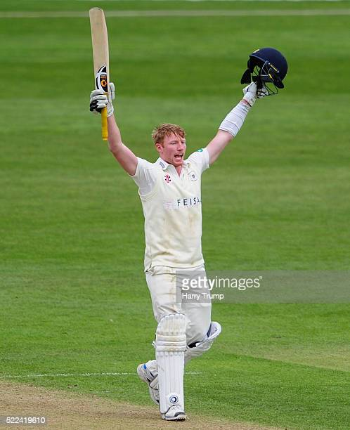 Liam Norwell of Gloucestershire celebrates after reaching his maiden century during Day Three of the Specsavers County Championship Division Two...