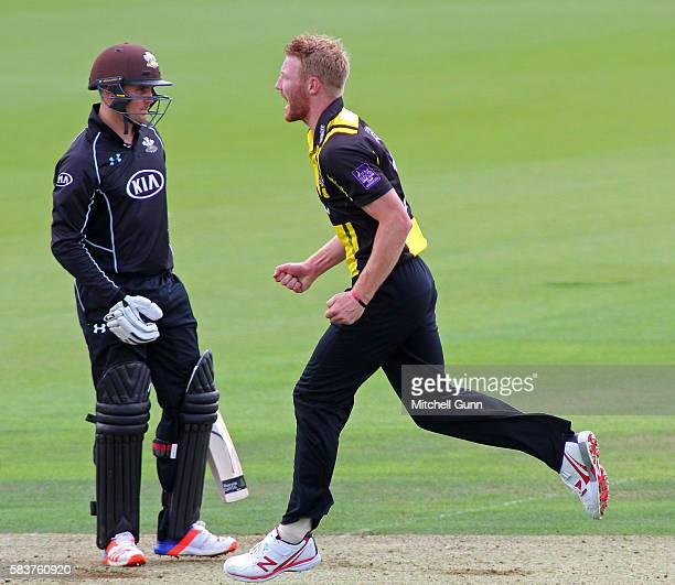 Liam Norwell of Gloucestershire celebrates taking the wicket of Jason Roy of Surrey during the Royal London OneDay Cup match between Surrey and...