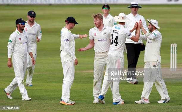 Liam Norwell of Gloucestershire celebrates the wicket of Adam Rossington of Northamptonshire during the Specsavers County Championship Division Two...