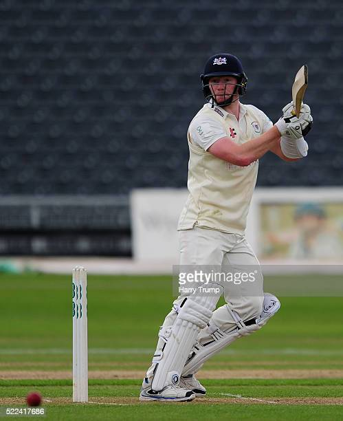 Liam Norwell of Gloucestershire hits out during Day Three of the Specsavers County Championship Division Two match between Gloucestershire and...