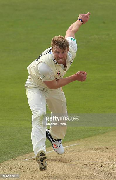 Liam Norwell of Gloucestershire in action bowling during day two of the Specsavers County Championship match between Essex and Gloucestershire at the...