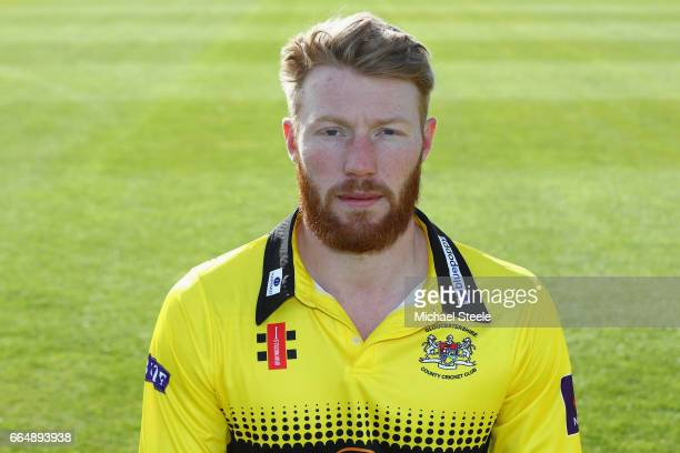 Liam Norwell of Gloucestershire in the T20 NatWest Blast kit during the Gloucestershire County Cricket photocall at The Brightside Ground on April 5...