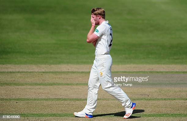 Liam Norwell of Gloucestershire reacts during Day One of the Specsavers County Championship Division Two match between Gloucestershire and...