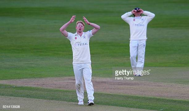 Liam Norwell of Gloucestershire reacts during Day Three of the Specsavers County Championship match between Gloucestershire and Worcestershire at The...