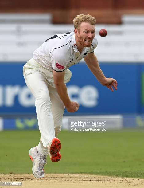 Liam Norwell of Warwickshire bowls during the Bob Willis Trophy Final between Warwickshire and Lancashire at Lord's Cricket Ground on October 01,...
