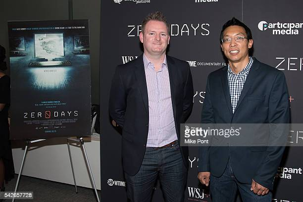 Liam O'Murchu and Eric Chien attend the Zero Days New York Premiere at New York Institute of Technology on June 23 2016 in New York City