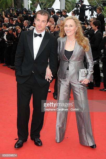 "Liam O'Neill and Faye Dunaway at the ""Beloved premiere during the 64th Cannes International Film Festival"