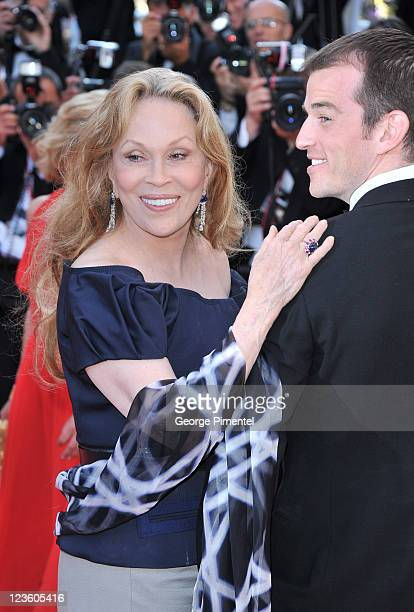 Liam O'Neill and Faye Dunaway attend the This Must Be The Place Premiere during the 64th Cannes Film Festival at the Palais des Festivals on May 20...