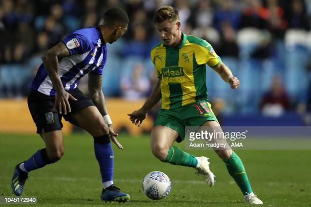Liam Palmer of Sheffield Wednesday and Harvey Barnes of West Bromwich Albion during the Sky Bet Championship match between Sheffield Wednesday and...