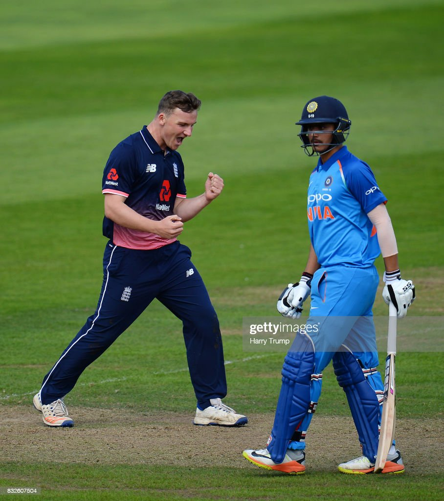 Liam Patterson-White of England U19s celebrates the wicket of Prithvi Shaw of India U19s during the 5th Youth ODI match between England U19s and India Under 19s at The Cooper Associates County Ground on August 16, 2017 in Taunton, England.