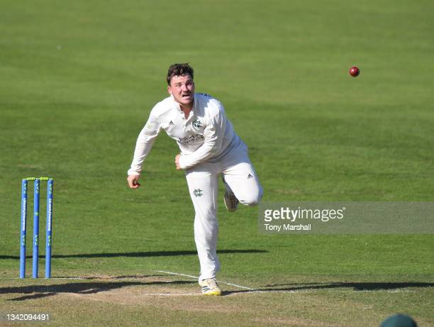 Liam Patterson-White of Nottinghamshire bowls during the LV= Insurance County Championship match at Trent Bridge on September 23, 2021 in Nottingham,...