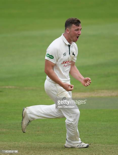Liam Patterson-White of Nottinghamshire celebrates the wicket of George Bartlett of Somerset during Day Three of the Specsavers County Championship...