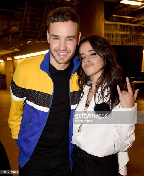 Liam Payne and Camila Cabello are seen backstage at 1061 KISS FM's Jingle Ball 2017 Presented by Capital One at American Airlines Center on November...