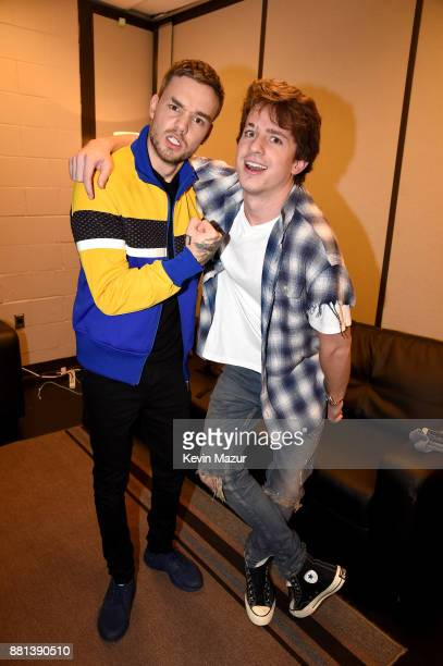 Liam Payne and Charlie Puth are seen backstage at 1061 KISS FM's Jingle Ball 2017 Presented by Capital One at American Airlines Center on November 28...