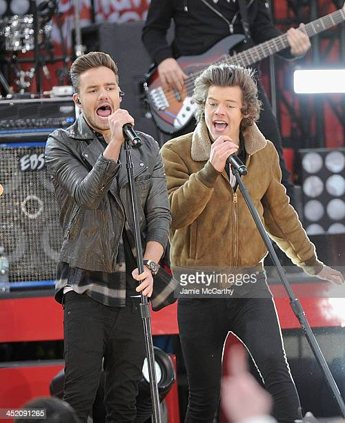 Liam Payne and Harry Styles of One Direction perform at Rumsey Playfield on November 26 2013 in New York City