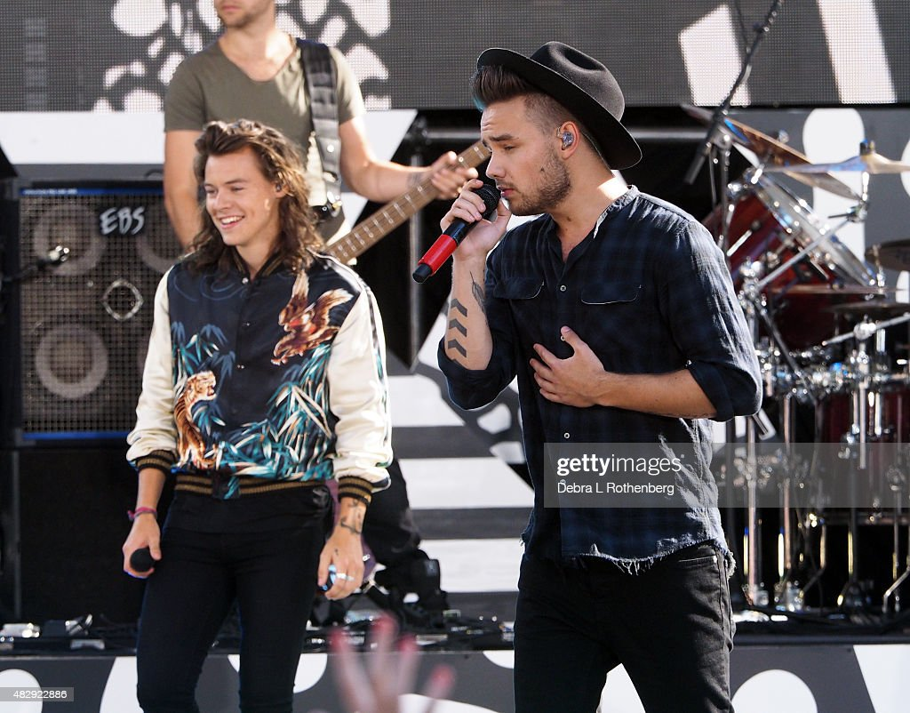 Liam Payne and Harry Styles of One Direction perform live on 'Good MorningAmerica's' Summer Concert Series at Rumsey Playfield, Central Park on August 4, 2015 in New York City.