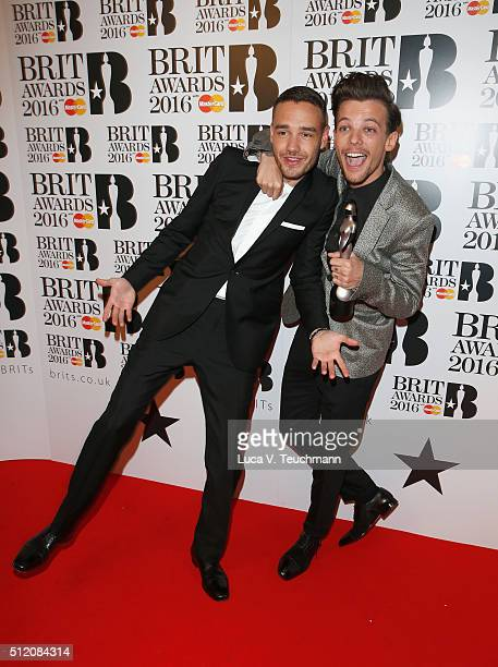Liam Payne and Louis Tomlinson from One Direction with their British Artist Video of the Year award at the BRIT Awards 2016 at The O2 Arena on...