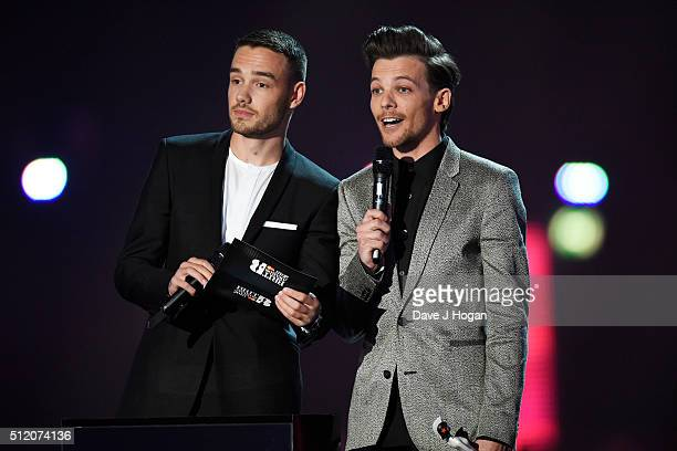 Liam Payne and Louis Tomlinson present an award for Best Female Solo Artist at the BRIT Awards 2016 at The O2 Arena on February 24 2016 in London...