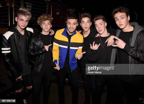 Liam Payne and members of music group Why Don't We Corbyn Besson Jack Avery Daniel Seavey Zach Herron and Jonah Marais are seen backstage at 1061...