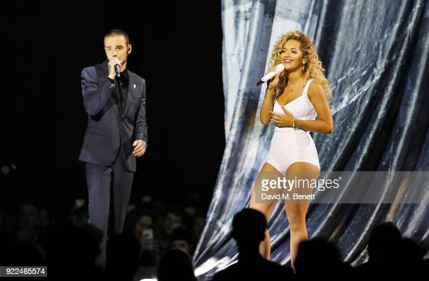 Liam Payne and Rita Ora perform at The BRIT Awards 2018 held at The O2 Arena on February 21, 2018 in London, England.