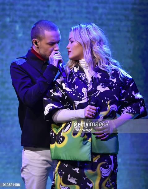 Liam Payne and Rita Ora perform during a taping of The Tonight Show Starring Jimmy Fallon at Rockefeller Center on January 31 2018 in New York City