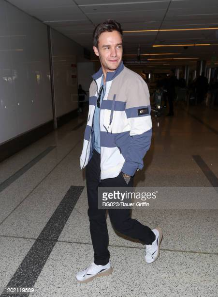Liam Payne is seen at LAX on February 20 2020 in Los Angeles California