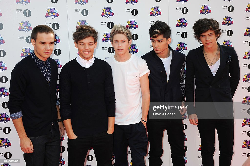 L-R Liam Payne, Louis Tomlinson, Niall Horan, Zayn Malik and Harry Styles of One Direction attend the BBC Radio 1 Teen Awards 2012 at Wembley Arena on October 7, 2012 in London. England