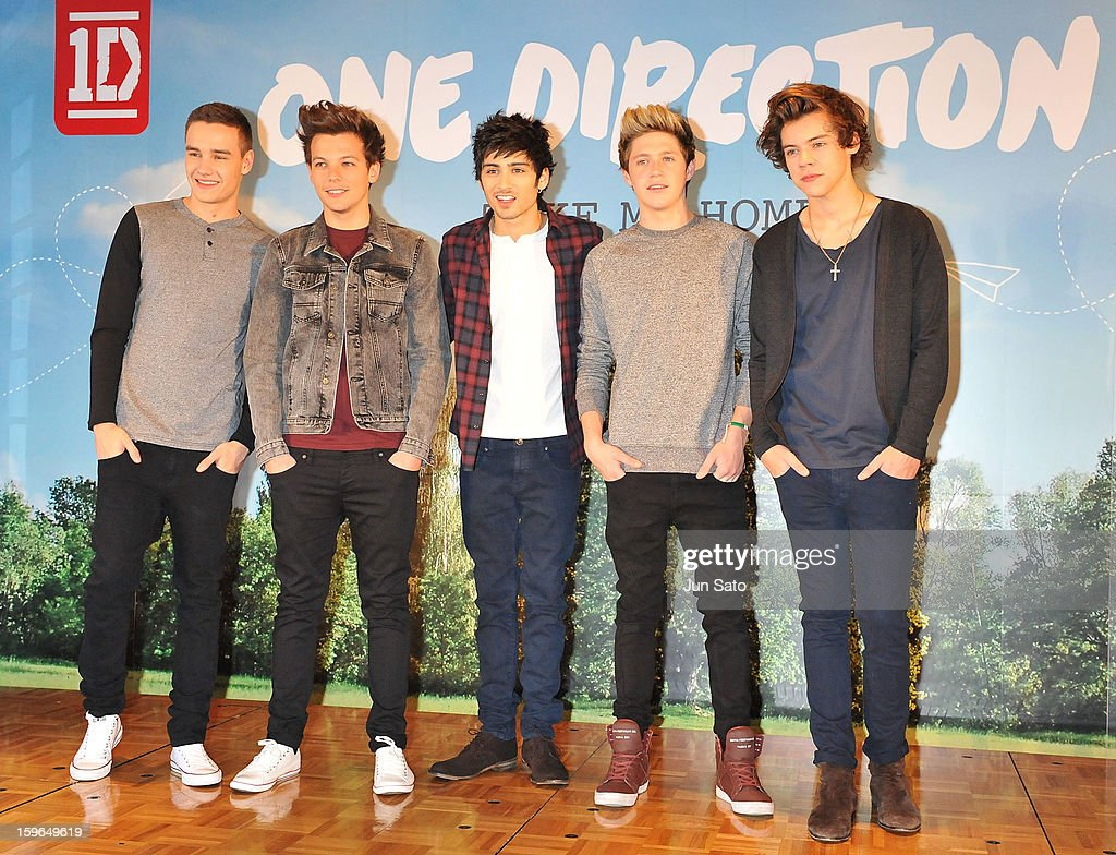 Liam Payne, Louis Tomlinson, Zayn Malik, Niall Horan, and Harry Styles of One Direction attend a press conference at the Ritz Carlton Tokyo on January 18, 2013 in Tokyo, Japan.