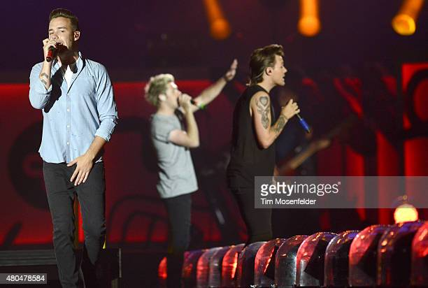 Liam Payne Niall Horan and Louis Tomlinson of One Direction perform during the band's 'On the Road Again' tour at Levi's Stadium on July 11 2015 in...