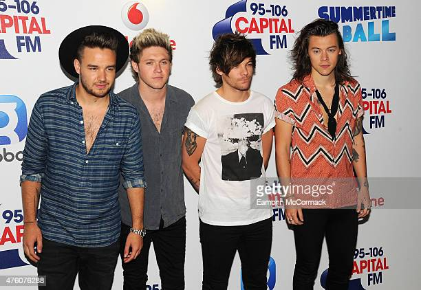 Liam Payne Niall Horan Louis Tomlinson and Harry Styles of One Direction attend the Capital FM Summertime Ball at Wembley Stadium on June 6 2015 in...
