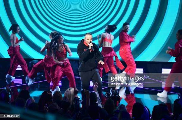 Liam Payne performing at the Brit Awards 2018 Nominations event held at ITV Studios on Southbank London
