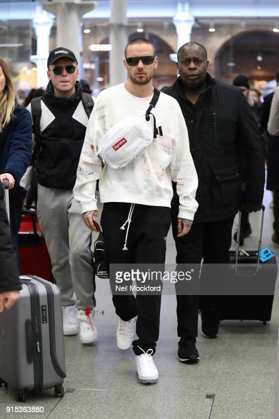 Liam Payne seen arriving at St Pancras International on a Eurostar train from Paris on February 7 2018 in London England