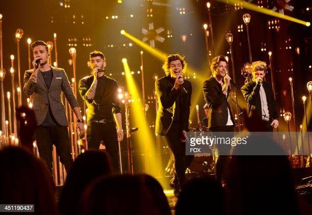 "Liam Payne, Zayn Malik, Harry Styles, Louis Tomlinson and Niall Horan of 'One Direction' performs on FOX's ""The X Factor"" Season 3 Top 10 To 9 Live..."
