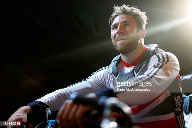 Liam Phillips of Great Britain waits in line to practice from the start line at the official training session during day 3 of the UCI BMX World...