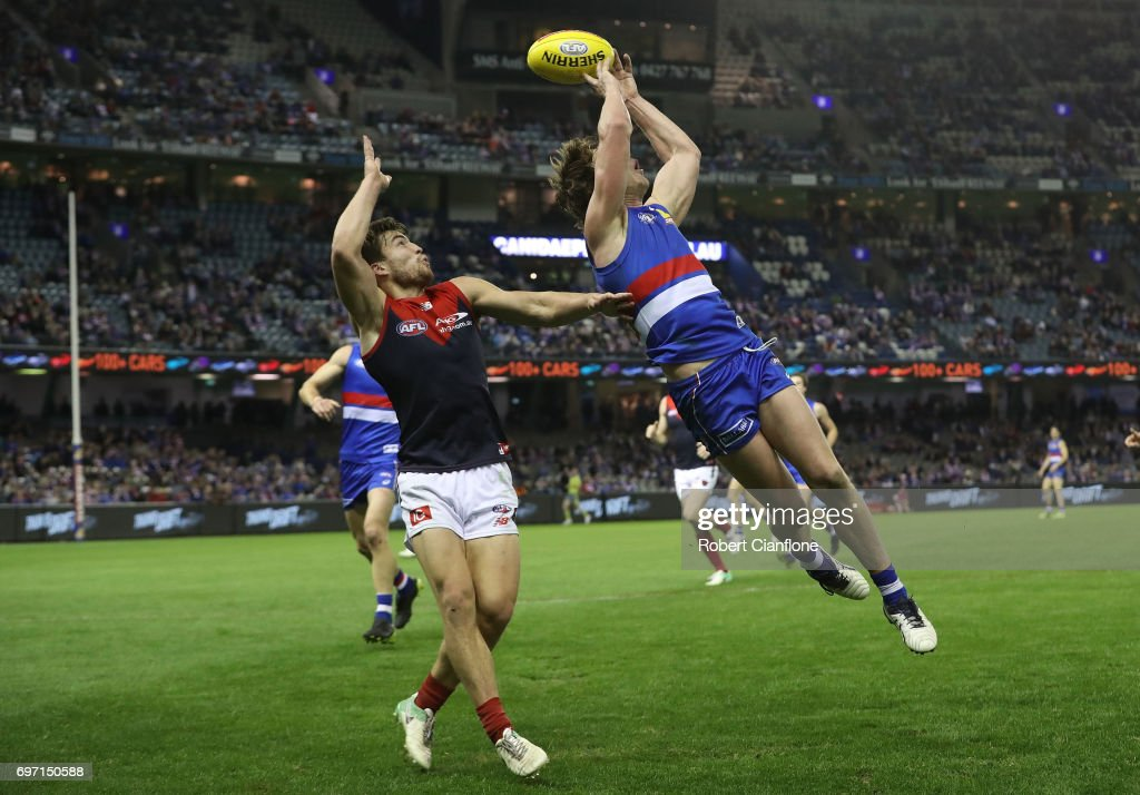 Liam Picken of the Bulldogs attempts to mark during the round 13 AFL match between the Western Bulldogs and the Melbourne Demons at Etihad Stadium on June 18, 2017 in Melbourne, Australia.