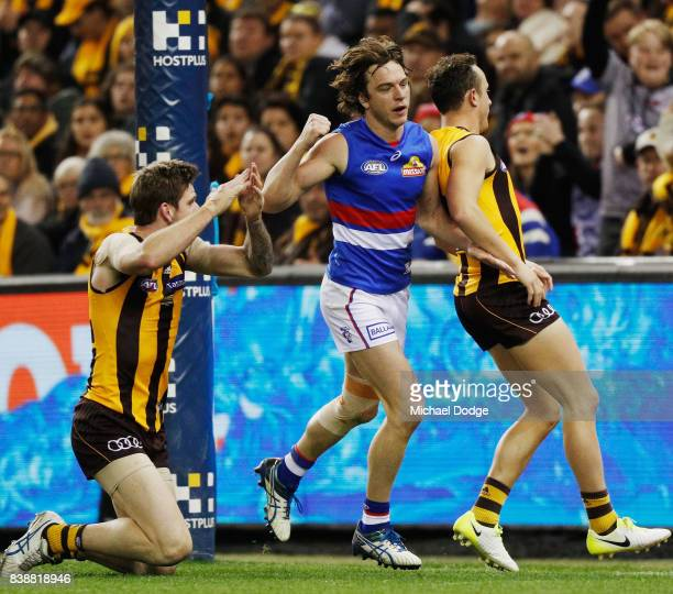 Liam Picken of the Bulldogs celebrates a goal as Kaiden Brand of the Hawks signals a touch behind during round 23 AFL match between the Hawthorn...
