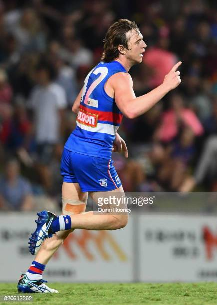 Liam Picken of the Bulldogs celebrates kicking a goal during the round 18 AFL match between the Western Bulldogs and the Gold Coast Suns at Cazaly's...